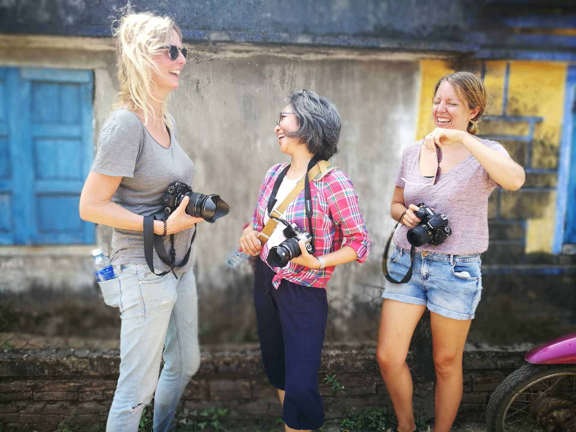 People having fun during hoi an photo tour and workshop