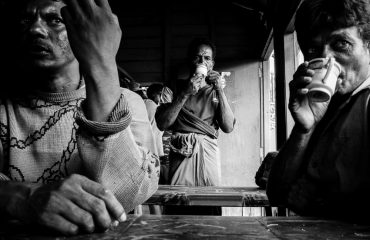 Splitting Chai In India Black And White