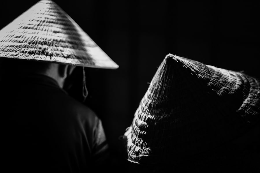 conical hats in hoi an market