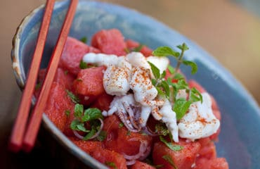 Watermelon and squid salad in hoi an