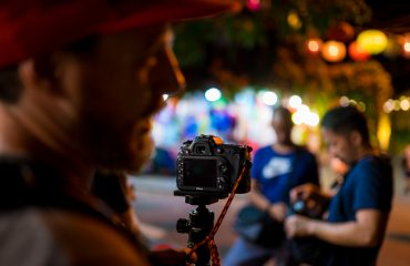 Doing night photography with a group in hoi an old town