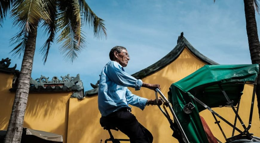 cyclo driver in the streets of Hoi An