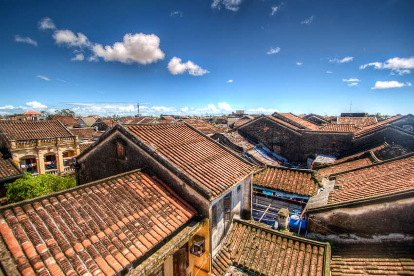 The tile roofs and blue skies of Hoi An a UNESCO site taken on a Hoi An Photo Tour