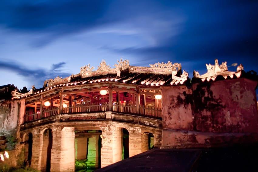 A beautiful long exposure of Cau Chua Pagoda Hoi Ans Cover Bridge