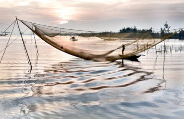 The fishing nets of Hoi An at sunrise